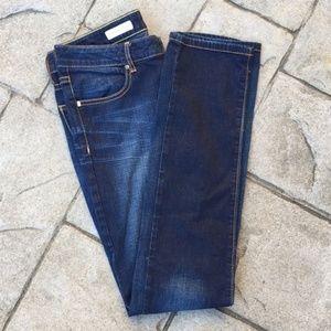 Pilcro Dark Wash Low-Rise Straight Leg Jeans